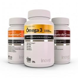 Kit 01 Picolinato de Cromo - 60 caps + 01 Ômega 3 1000mg - 120 caps - + 01 Vitamina C 500 - 60 caps - Inove Nutrition