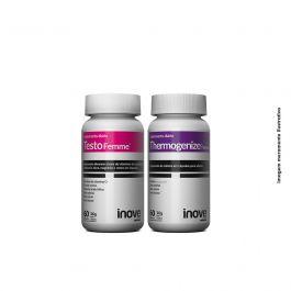 Kit 01 Testofemme + 01 Thermogenize Femme Inove Nutrition c/ 60 cápsulas cada + Brinde Coqueteleira Inove Nutrition 600 ML
