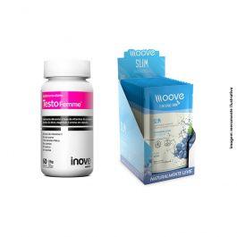 Kit 01 Testofemme 60 cápsulas + 01 Display Moove Slim Uva  c/ 12 sachês +  Brinde Coqueteleira Inove Nutrition