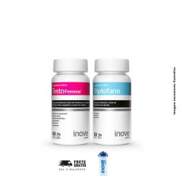 Kit 01 Testofemme 60 Cápsulas + 01 Triptofano Inove Nutrition 30 Cápsulas + Brinde Coqueteleira Inove Nutrition 600 ML