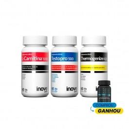 Kit 01 Testopro 500 + 01 L-Carnitina + 01 Thermogenize 420 - Ganhe 1 Triptofano Dreams - Inove Nutrition