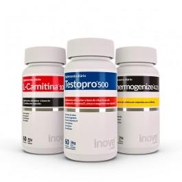 Kit 01 Testopro 500 + 01 L-Carnitina 1000 + 01 Thermogenize 420 c/ 60 cápsulas cada - Inove Nutrition