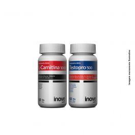 Kit 01 Testopro 500 + 01 L-Carnitina Inove Nutrition c/ 60 cápsulas cada +  Brinde Coqueteleira 600 ml