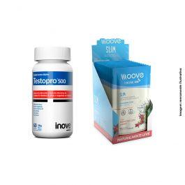 Kit 01 Testopro 60 cápsulas + 01 Display Moove Slim Hibiscus com Limão  c/ 12 sachês + Brinde Coqueteleira Inove Nutrition