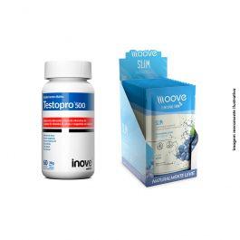 Kit 01 Testopro 60 cápsulas + 01 Display Moove Slim Uva  c/ 12 sachês +  Brinde Coqueteleira Inove Nutrition