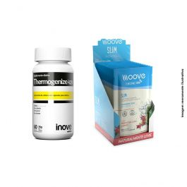 KIT 01 Thermogenize 420 60 cápsulas + 01 Display Moove Slim Hibiscus com Limão  c/ 12 sachês Inove Nutrition + Brinde Coqueteleira