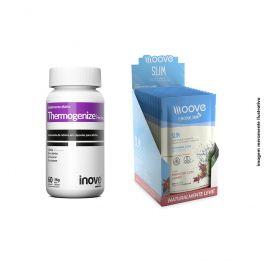 KIT 01 Thermogenize Femme 60 cápsulas + 01 Display Moove Slim Hibiscus com Limão  c/ 12 sachês + Brinde Coqueteleira Inove Nutrition