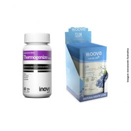 KIT 01 Thermogenize Femme 60 cápsulas + 01 Display Moove Slim Uva  c/ 12 sachês + Brinde Coqueteleira Inove Nutrition
