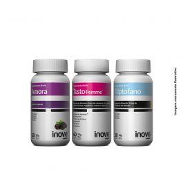 Kit 01 Triptofano  + 01 Amora Miura + 01 Testofemme Inove Nutrition + Brinde 01 Necessaire Inove Nutrition