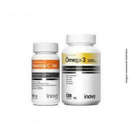 Kit 01 Vitamina C + 01 Ômega 3 1.000mg 120 caps + Brinde Porta Cápsulas Inove Nutrition