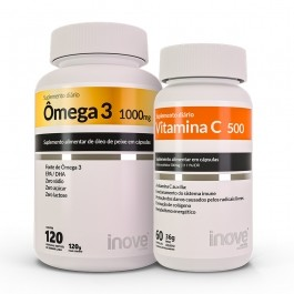 Kit 01 Vitamina C + 01 Ômega 3 1.000mg 120 caps Inove Nutrition