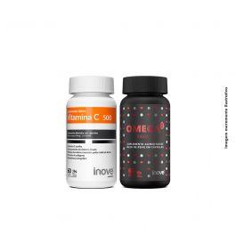 Kit 01 Vitamina C + 01 Ômega 3 + Brinde Porta Cápsulas Inove Nutrition