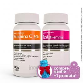 Kit 01 Vitamina C + 01 Testofemme - Compre & Ganhe + 1 Produto - Inove Nutrition