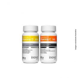 Kit 01 Vitamina C 500mg + 01 Vitamina D 1.000 UI + Brinde Porta Cápsulas Inove Nutrition