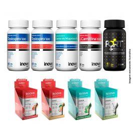 Kit 02 Testopro + Fort + l-carnitina + Cloreto Inove Nutrition+ 2 Energy + 2 Hydrate Moove nutrition + Brinde camiseta Inove Nutrition
