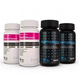 Kit 02 Triptofano Dreams 860mg + 02 Testofemme - c/ 60 cápsulas cada - Inove Nutrition