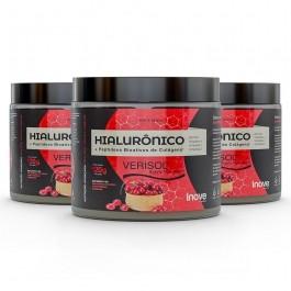 Kit 03 Colágeno Verisol + Ácido Hialurônico - 120g Sabor Cranberry - Inove Nutrition
