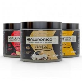 Kit 03 Colágeno Verisol + Ácido Hialurônico - 120g Sabores Café - Cranberry - Abacaxi - Inove Nutrition