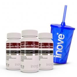 Kit 03 Picolinato de Cromo 60 cápsulas - Ganhe 1 Copo c/ Canudo Inove Nutrition