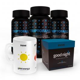 Kit 03 Triptofano Dreams 860mg 60 cápsulas + 01Chá Funcional Good Night c/10 cápsulas  - Ganhe 1 Caneca Exclusiva Inove Nutrition