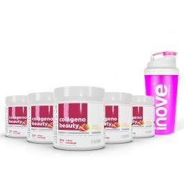 Kit 05 Colágeno Beauty Verisol c/ Vitaminas e Zinco c/ 120g cada pote - Sabor Morango - Ganhe 1 Coqueteleira Inove Nutrition®