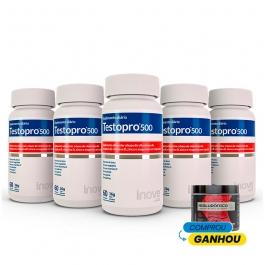 Kit 05 Testopro 500 - Ganhe 01 Colágeno Verisol + Ácido Hialurônico - 120g - Inove Nutrition