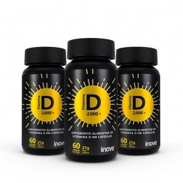Kit 3x Vitamina D 2.000 ui Inove Nutrition - 60 cápsulas cada + Brinde Coqueteleira Inove Nutrition