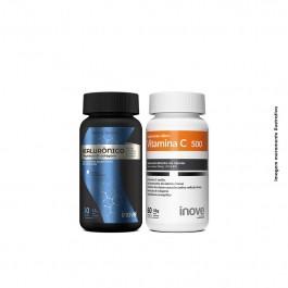 Kit Ácido Hialuônico 30 caps + Vitamina C 500 60 caps + Brinde Camiseta Inove Nutrition