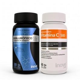 Kit Ácido Hialurônico 30 caps + Vitamina C 500 60 caps Inove Nutrition
