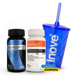 Kit Ácido Hialurônico + Peptídeos de Colágeno 30 cápsulas + Vitamina C 60 cápsulas - Ganhe 1 Copo c/ Canudo Inove Nutrition