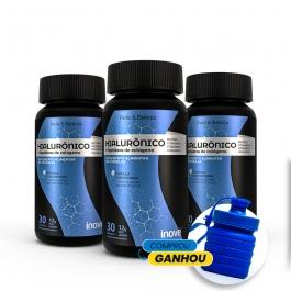 Kit Ácido Hialurônico + Peptídeos de Colágeno (Verisol) - 3 potes  c/ 30 caps softgel - Ganhe 1 Garrafa Exclusiva Inove Nutrition