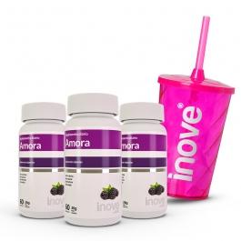Kit Amora Miura Menopausa - 3 potes c/ 60 cápsulas cada - Ganhe 1 Copo c/ Canudo Inove Nutrition®