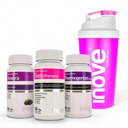 Kit Amora Miura + Thermogenize Femme + Testofemme c/ 60 cápsulas cada pote - Ganhe 1 Coqueteleira Inove Nutrition