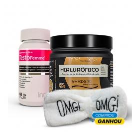 Kit Beauty: Colágeno Verisol + Ácido Hialurônico 120g + Testofemme - Ganhe 1 Faixa Skin Care Inove Nutrition