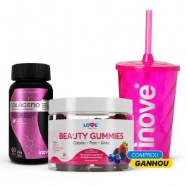 Kit Beauty Gummies + Colágeno + Vitaminas e Minerais - Ganhe 1 Copo c/Canudo Inove Nutrition
