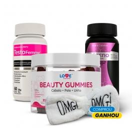 Kit Beauty Gummies + Colágeno + Vitaminas e Minerais + Testofemme - Ganhe 1 Faixa Skin Care Inove Nutrition