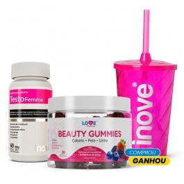 Kit Beauty Gummies + Testofemme - Ganhe 1 Copo c/ Canudo Inove Nutrition