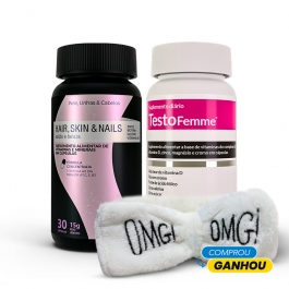 Kit Beauty: Hair, Skin & Nails  30 cápsulas + Testofemme 60 cápsulas - Ganhe 1 Faixa Skin Care Inove Nutrition