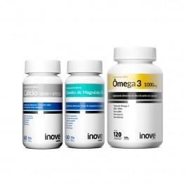 Kit Cálcio 1000 + Vitamina D3 60 caps. + Cloreto de Magnésio P.A 60 caps. + Ômega 3 1.000mg 120 caps + Brinde Inove Nutrition