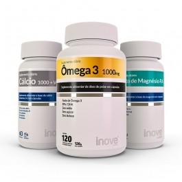 Kit Cálcio 1000 + Vitamina D3 60 caps. + Cloreto de Magnésio P.A 60 caps. + Ômega 3 1.000mg 120 caps. - Inove Nutrition