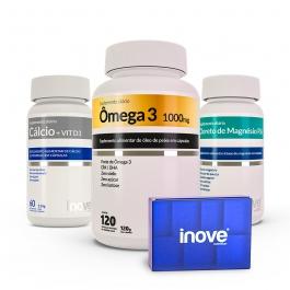 Kit Cálcio + Vitamina D3 + Cloreto de Magnésio P.A + Ômega 3 120 cápsulas - Ganhe 1 Porta Cápsulas Semanal Inove Nutrition