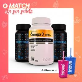 Kit Casal Saúde - 2 Triptofano Dreams c/ 60 cápsulas casa + 1 Ômega 3 1000mg dose EPA/DHA  c/ 120 cápsulas - Inove Nutrition®