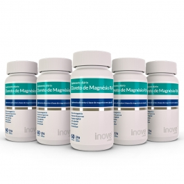 Kit Cloreto de Magnésio P.A Inove Nutrition 05 potes c/ 60 cápsulas