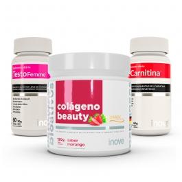 Kit Colágeno Beauty Verisol - Sabor Morango 120g + L-Carnitina - 60 comprimidos - Testofemme 60 cápsulas - Inove Nutrition