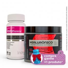 Kit Colágeno Verisol + Ácido Hialurônico 120g + Testofemme - Compre & Ganhe + 1 Produto - Inove Nutrition