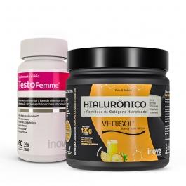 Kit Beauty Colágeno Verisol + Ácido Hialurônico 120g + Testofemme - Inove Nutrition