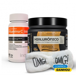 Kit Colágeno Verisol + Ácido Hialurônico 120g + Vitamina C 60 cápsulas - Ganhe 1 Faixa Skin Care Inove Nutrition