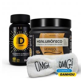 Kit Colágeno Verisol + Ácido Hialurônico 120g + Vitamina D 2000 ui 60 cápsulas - Ganhe 1 Faixa Skin Care Inove Nutrition