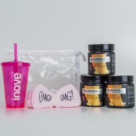 Kit Colágeno Verisol + Ácido Hialurônico - 3 Potes c/ 120g cada Sabor Abacaxi - Ganhe 3 Brindes Exclusivos Inove Nutrition