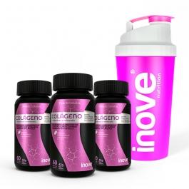 Kit Colágeno + Vitaminas e Minerais - 3 potes c/ 60 cápsulas cada - Ganhe 1 Coqueteleira Inove Nutrition®